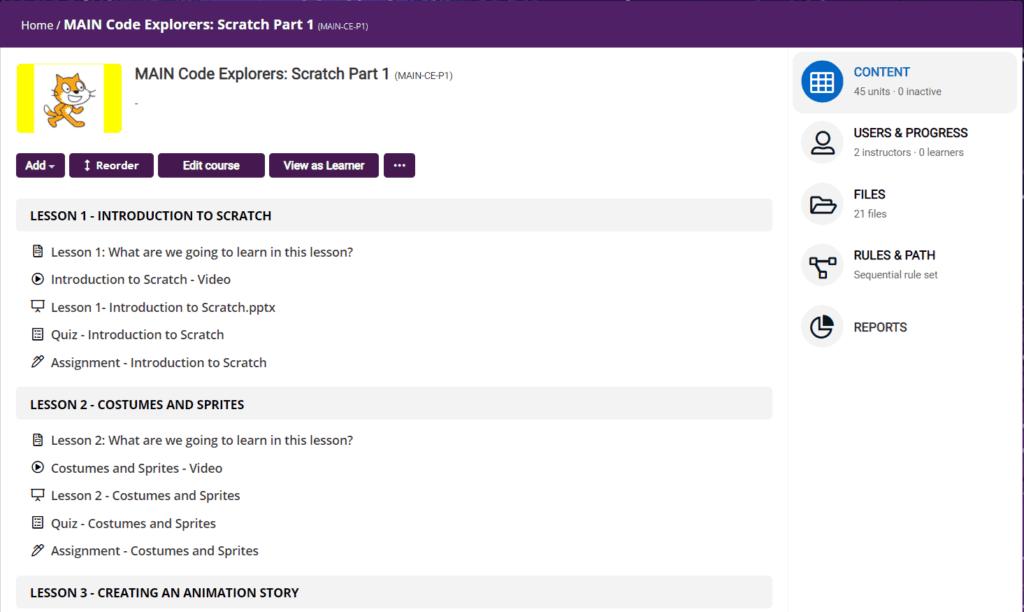 STEMLOOK Code Explorers Course Scratch